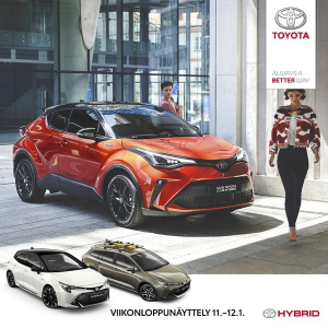 Astu sähköiselle vuosikymmenelle Toyotan viikonloppunäyttelyssä 11.–12.1. Suomen suosituimmilla hybrideillämme nautit sähköajosta ilman erillistä latausta. Laaja hybridimallistomme uudistuu jälleen: koe mm. tehokas, uusi C-HR Hybrid, jossa yhdistyvät uuden sukupolven suorituskyky, särmikäs muotoilu ja saumattomat yhteydet. Esittelyssä myös tuliterät lifestylemallit Corolla GR Sport ja Corolla TREK. Tervetuloa tutustumaan! Olemme auki myös sunnuntaina 12.1. klo 12-15! Katso lisää: www.maakunnanauto.fi