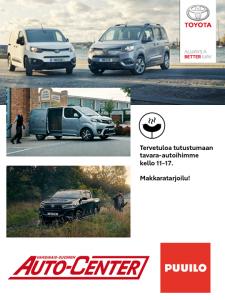 Tervetuloa tänään kello 11-17 tutustumaan tavara-autoihimme Puuilon pihalle Raisioon! Nähtävillä uusi Proace City, Hilux Truckmasters -kevytkuorma-auto sekä Proace. Makkaratarjoilu!