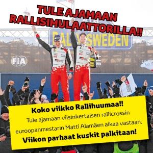 Raision liikkeessämme alkaa ensi maanantaina 22.1. rallihuuma!! 🎉 Tule kilpailemaan rallicrossin moninkertaisen euroopanmestarin Matti Alamäen aikaa vastaan vastaan rallisimulaattorissa! Neljä viikon kovinta kuskia pääsee finaaliin, jossa pääpalkintona on 2 Rallipassia Jyväskylän Neste Ralliin 26.-29.7.!! Rallitunnelmia ja tuloksia seurataan täällä koko ensi viikon ajan 🏎️